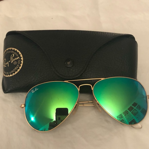 Ray Ban Accessories Authentic Green Mirror Ray Ban Aviators Poshmark